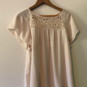 Maeve for Anthropologie cream short sleeve blouse